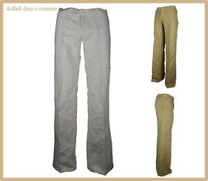 pantaloni larghi da donna a vita bassa palazzo zampa lino estivi bianchi w25 w29