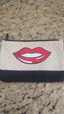 New-Ipsy-Make-Up-Bag-Pouc h-Cosmetic Bag-Lip design, canvas, black, tan polkadot