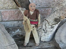 Antique Stockinette Cloth Doll Primitive Mexican Folk Art Painted Face