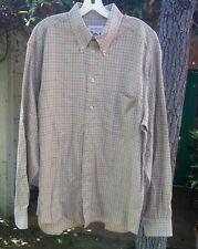 Ermenegildo Zegna Khaki Checked Men's Italian Designer Long Sleeve Shirt - L