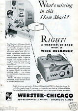 1948 Print Ad of Webster Chicago Model 78 Wire Recorder for Ham Shack