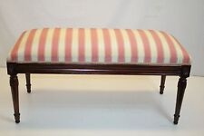 Directoire French Louis XVI Mahogany Long Hall Window Bench, New Upholstery