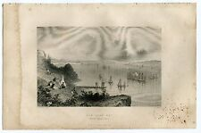 New York Bay 1888 Antique Print - Bancroft History of United States - Freeman