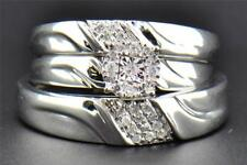 Diamond Trio Set 10K White Gold Engagement Ring Wedding Band Round 0.19 Ct