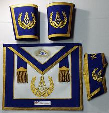 Masonic Blue Lodge Master Mason Apron Set Apron,Collar ,Gauntlets (Cuffs)