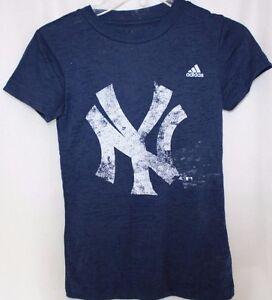 NEW Juniors Girls Adidas NY Yankees Blue Burn Out Style Baseball S/S Shirt