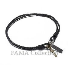 Quality FAMA Black Braided Leather Wrap Bracelet with Cross Dangle