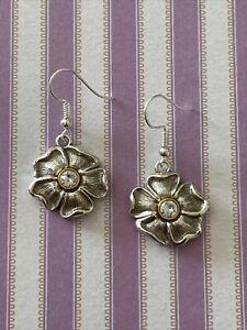 Brighton LUX GARDEN Crystal Center Flowers Custom Gold & Silver Earrings