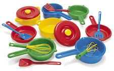 DANTOY DURABLE KIDS CHILDRENS PLAY POTS, PANS, UTENSILS SET - pretend cook set