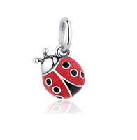 Authentic Genuine Sterling Silver Ladybug Dangle Charm - Ladybird Red Bug Charm
