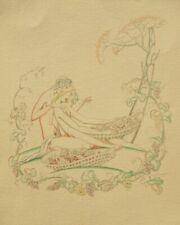 Antique Art Deco erotic nude woodblock engraving by John Austen 1924