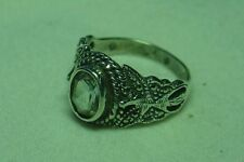 Sterling Silver 925 Marcasite Butterfly Ring with Stone Rhinestone