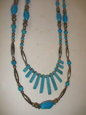 VINTAGE SILVER PLATE TURQUOISE NECKLACE NATIVE