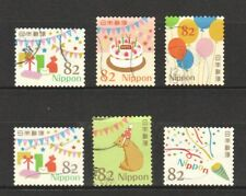JAPAN 2017 HAPPY GREETINGS CELEBRATION DESIGNS 82 YEN COMP. SET OF 6 STAMPS USED