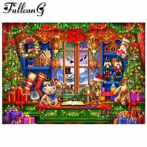 FULLCANG christmas gift shop full square/round drill 5d diy diamond embroidery