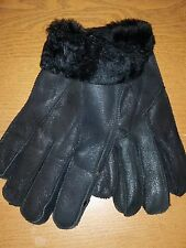 Mens Handmade Winter Genuine Black Sheepskin Leather Shearling Fur Warm Gloves