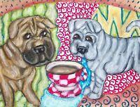 CHINESE SHAR PEI Drinking Coffee Dog Pop Folk Vintage Art 8 x 10 Signed Print