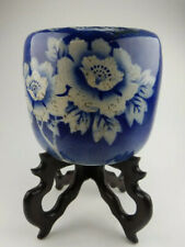 Antique Japanese Hand Painted Arita Fish Bowl/ Planter with hardwood stand