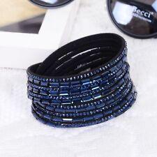 LOVELY LEATHER Slake BRACELET MADE WITH SWAROVSKI ELEMENTS - DARK BLUE - NEW
