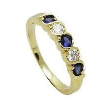 New 18ct Gold Filled Half  Eternity  Ring  with Clear and Blue Gemstone  244