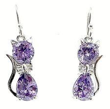 Amethyst cat earrings 925 Sterling Silver 3cm drop dangle hook ladies earrings