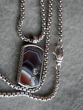 "David Yurman Sterling Silver Exotic Stone Inlay Small Dog Tag 22"" Box Chain"