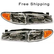 Halogen Head Lamp Assembly Set of 2 LH & RH Side Fits 97-2003 Pontiac Grand Prix