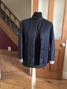Ladies Aquascutum Navy Blue Lightweight Quilted Jacket Check Lining Size 10