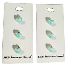 2 Cards JHB International 3 Iridescent Turquoise Hearts HandPainted Button 3/8""