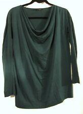 Bruuns Bazaar Emerald green long sleeve draped neckline top UK8-10