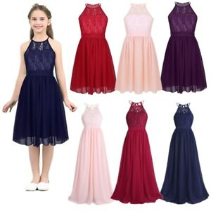 Flower Girls Dress Princess Pageant Wedding Birthday Halter Lace Vintage Gown