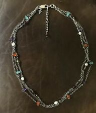 "SILPADA 3 Strand Sterling Silver 925 Amethyst Garnet Pearl Necklace 17""-19"""