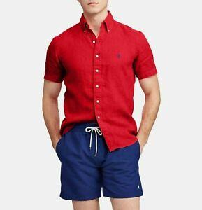 POLO Ralph Lauren S/S Red Linen Button Down Shirt For Men