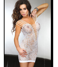 WHITE SEXY STRETCHY SEE THROUGH FISHNET Bodystocking MINI DRESS ONE S 6-12
