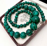 Vintage Style Rich Green Reconstituted Malachite Graduated Bead Necklace
