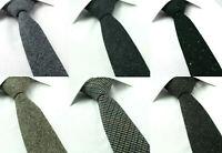 Wool Speckled Tweed 6CM Skinny Tie Brown Green Grey Blue Checked