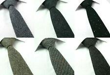 Wool Speckled Tweed 6CM Skinny Tie Brown Green Grey Blue Checked Herringbone