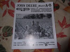 JOHN DEERE MODELS A AND B GENERAL PURPOSE TRACTORS BROCHURE
