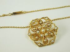 "Pearl pendant necklace antique Victorian 15 carat gold stunning 18"" long ca 1880"