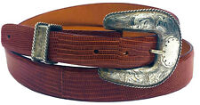Billy Martin's Oversized Engraved Sterling Silver Ranger Buckle Lizard Belt 38