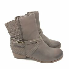 Joie Boots Size 7.5 37.5 Jackson Dove Taupe Woven Leather Ankle Harness Distress