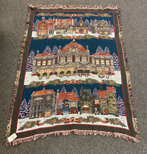 Vintage Goodwin Weavers LOT OF 3 Blanket Throw,Christmas,Dickens Village,New,USA