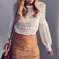 US Fashion Women Long Sleeve Shirt Casual White Lace Blouse Loose Tops T Shirts
