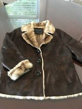 BERNARDO BROWN Fur COAT JACKET LARGE
