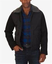 Nautica Men's Fleece collar Bomber Jacket Black L Wool Blend