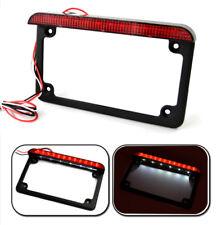 12V LED Motorcycle License Plate Mounting Frame w/ Tail Brake Light for USA Bike