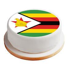"Zimbabwe / Zimbabwean Flag - 8"" Pre-Cut Round Cake Topper Premium Icing Sheet"