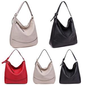 Faux Leather Women Fashion Shoulder Tote Handbag Ladies  Soft Slouch Hobo Bag