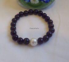 Uruguay charoite 8mm beads +10mm round freshwater pearl bracelet