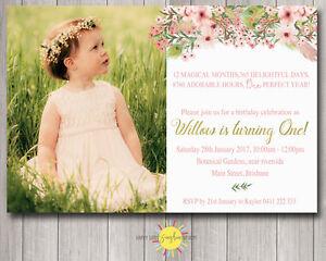 Printable Girls Birthday Invitation Floral Feathers Boho 1st Birthday Photo